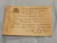CANADA DRAFT-  WW1 Canadian Military National Registration 1918 Card WWI
