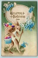 Dressed Bunny Rabbit with Basket of Colored~Eggs Airbrushed~Easter Postcard-s219