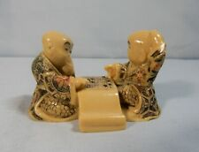 Japanese netsuke chess go players circa 1980s hand carved resin