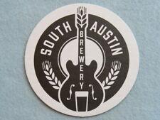 Beer COASTER ~^~ SOUTH AUSTIN Brewery ~ TEXAS Craft - Cool Guitar & Grain Design