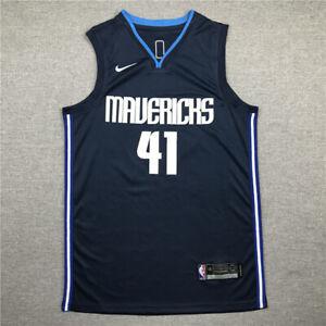 Classic Dirk Nowitzki #41 Dallas Mavericks Basketball Trikot Genäht Tiefes Blau