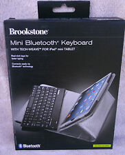 "Brookstone Mini Bluetooth Keyboard With Tech-Weave For iPad Mini Tablet ""Silver"""