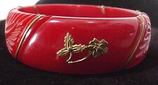 Vintage Bakelite Tested Burgundy Applied Brass Design Bracelet  FLOWERS Carved