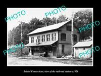 OLD LARGE HISTORIC PHOTO OF BRISTOL CONNECTICUT THE RAILROAD DEPOT c1920