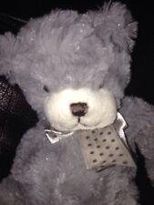 """Cute n soft small 9"""" GREY  spotty ribbon Teddy Bear Soft cuddly Toy Comforter A9"""