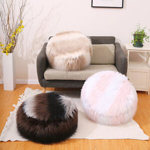 Bean Bag Cover Faux Fur Ottoman Footstool Round Stool Chair Cover No Fillin