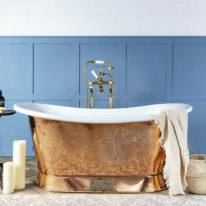 Witt & Berg Copper Bateau Bathtub - Copper Exterior / White Enamel Interior