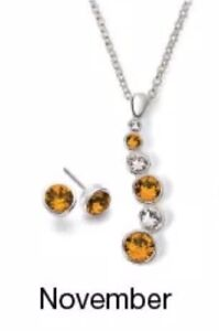 Avon Journey Necklace & Earrings Gift Set With Swarovski Crystals *FREE P&P*