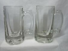Vintage Libbey Clear Glass Optic Classic Beer Mugs Stein Thick 6 Panel Set of 2