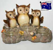 Yankee Candle TRIPLE TEALIGHT HOLDER ~  GIVE A HOOT OWLS ~ ABSOLUTELY GORGEOUS!