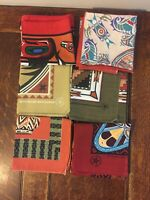 Vintage Bandana Native American Aztec Lot of 6 Tribal Handkerchief - Made in USA