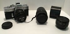 Minolta SRT 201 35mm SLR Film Camera Bundle 3 Total Lenses 1 Case