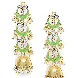 Gold Plated 3 Layered Long Jhumki Earrings With Mint Enamel Kundans Pearls a499
