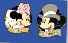 Disney Wedding Day Bride Minnie & Groom Mickey Mouse Stained Glass 2 Pin Set
