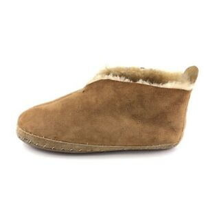 Whipstitched Brown Leather Shearling Sheepskin Bootie Slippers Mens Size 9