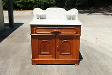 Superb Walnut Victorian Renaissance Revival Marble Top Washstand Cabinet