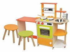 Lelin Wooden Childrens 2 In 1 Kitchen Cooking And Dining Room With Pots & Pans