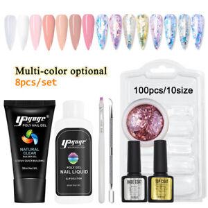 DIY 30ML Poly Gel Nail Set UV Builder Gel Nail Sequins Kits Nail Tips Home Use