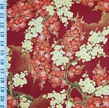 FAT QUARTER KONA BAY 2006 TSUKI NO HANA RED/CREAM CHERRY BLOSSOMS COTTON FABRIC