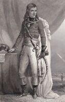 Portrait XIXe Général Napoléon Bonaparte Pyramides Campagne d'Egypte 1835