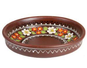 "8"" Round Baking Dish Pie Plate Serving Deep Glazed Clay Pan Natural Stoneware"