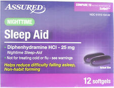 New !  12 Softgels  Assured NIGHTTIME SLEEP AID Generic ZzzQuil