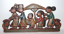 New listing Hand carved wooden wall hanging plaque native ethnic people family