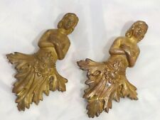 Angel Cherub Putti PAIR French Figural Bronze 19TH Pediment Furniture Salvage