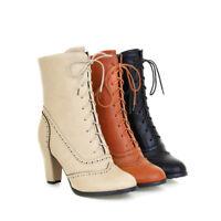 Womens Lace up High Top Shoes High Heel Stilettos Ankle Boots Plus Size Vintage