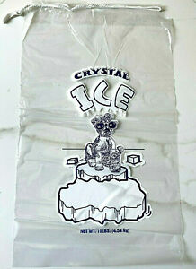 500 bag pc CRYSTAL 10 LB LBS Plastic Ice Bags Commercial Quality With Drawstring