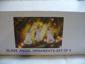 Vintage Avon Spun Glass Angel Ornaments Set of 3
