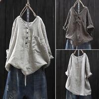 ZANZEA Women Long Sleeve Buttons V Neck Casual Stripe Shirt Tops Blouse Plus US