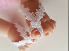 White Daisy Lace - Baby / Toddler / Girls Barefoot Toe Sandals