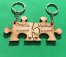 Keyring personalised Jigsaw Wedding Anniversary Love Gift - Wooden Cherry Veneer