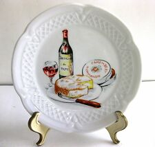 VTG. PORCELAINE LOURIOUX CANAPE PLATE-WINE & CHEESE DESIGN, Made in FRANCE, 5 ¾