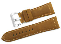 26mm Brown Genuine Calf Leather Watch  Band Steel Pre-V Buckle Strap For Panerai
