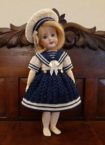 CROCHETED MARINERS DRESS SET FOR A REPRODUCTION BLEUETTE*by Tina