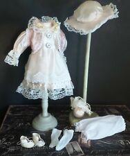 """Antique REPRODUCTION Style 12"""" DRESS Ensemble for Antique BISQUE & ARTIST DOLLS"""