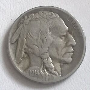 Rare USA Five Cents Coin 1914 Indian Buffalo Nickel 1914 Liberty Coin 5 Cent WWI
