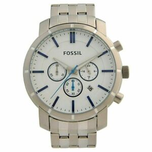 Fossil Men's Lance White Dial Chronograph Date Stainless Steel BQ2235 $155