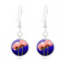 Pink Poppy Photo Tibet Silver Dome Photo 16MM Glass Cabochon Long Earrings #407