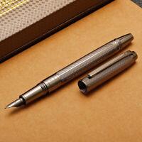 HERO H610 Metal Brushed Gray Fountain Pen Water Ripples Fashion Iraurita F 0.5mm