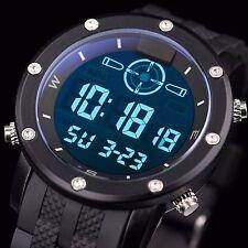 INFANTRY Mens Digital Wrist Watch Date Stopwatch Alarm Black Rubber Sport Army