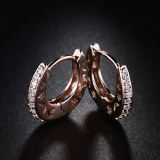 HUCHE Vintage Retro Rose Gold Filled Moon & Stars Diamond Topaz Women Earrings