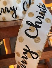 """2.5"""" Merry Christmas Ivory Gold Wired Ribbon By The Yard"""