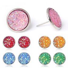NEW Women Crystal Earrings Natural Stone Quartz Silver Plated Fashion Ear Stud