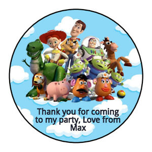 Personalised Toy Story Group Birthday Stickers Thank You Party Bag Sweet Cone
