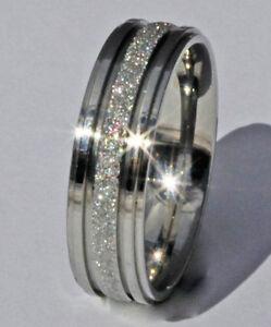 NICKEL SAFE Hypoallergenic 4MM 6MM Steel Sparkle Engagement Ring Wedding Band