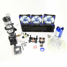 PC Liquid Cooling 360 Radiator Kit Pump 220mm Reservoir CPU GPU HeatSink Blue #1