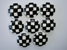 8 Black and White Check Dresser Drawer Knobs Pulls